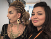 Model Sandra Castro (L) and Barnet and Southgate College Hair and Beauty student Sherbano Amir at the Colindale Campus