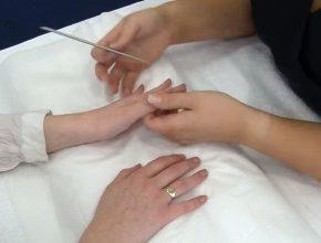 Re-varnishing and filing nails
